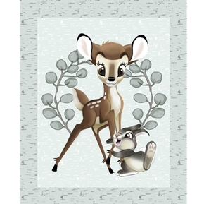 Disney Bambi Nursery Bambi and Thumper Large Cotton Fabric Panel