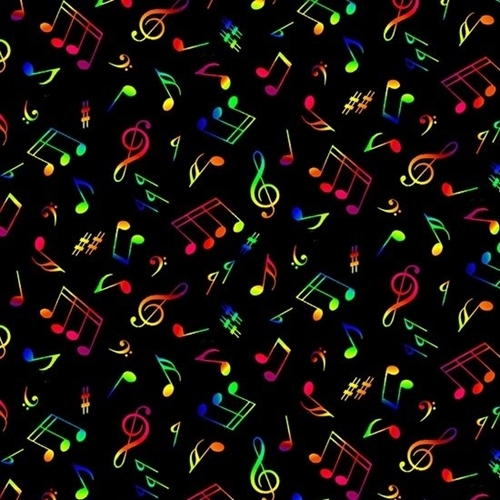 Jazz Music Rainbow Colored Musical Notes Black Cotton Fabric
