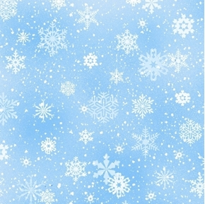 Landscape Medley Snowflakes Winter Snow on Light Blue Cotton Fabric