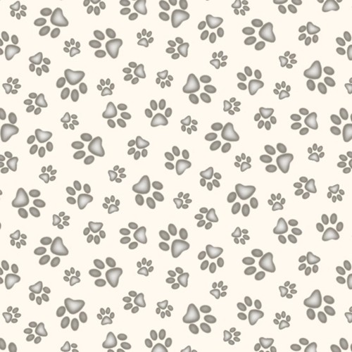 Adorable Pets Paw Print Dog Paw Cat Paw Prints Cream Cotton Fabric