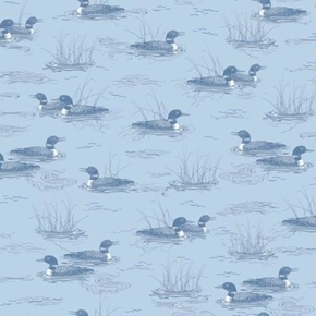 Loons Loon Tonal Water Birds Hautman Dusty Blue Cotton Fabric