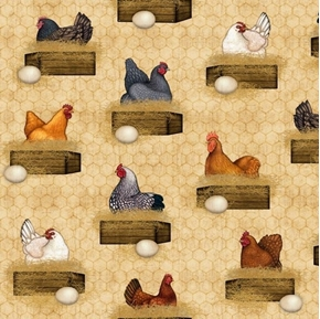 Sunrise Farms Hens Nesting Chicken Coop Farm Tan Cotton Fabric