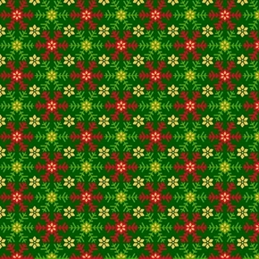 Santa's List Snowflakes Christmas Holiday Green Snow Cotton Fabric