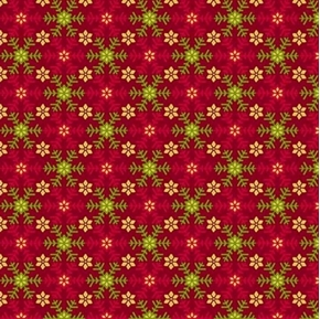 Santa's List Snowflakes Christmas Holiday Red Snow Cotton Fabric
