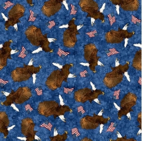All American Eagle Toss Bald Eagles and Flags Navy Cotton Fabric