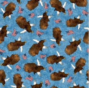 All American Eagle Toss Patriotic Bald Eagles Flags Blue Cotton Fabric