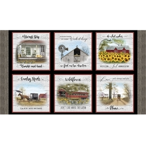 Headin Home Take Me Home Country Roads 24x44 Cotton Fabric Panel