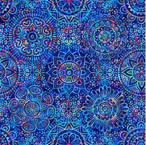 Zanzibar Mandalas Colorful Royal Blue Mandala Blender Cotton Fabric