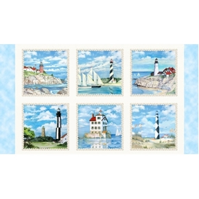 Beacons of Light Lighthouse Block Cream 24x44 Cotton Fabric Panel