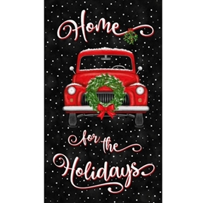 Home For The Holidays Christmas Red Truck 24x44 Cotton Fabric Panel