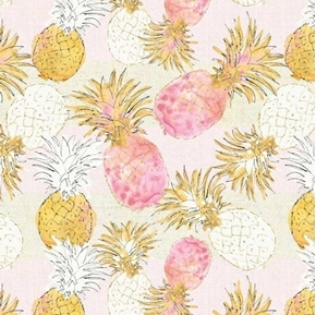 Flamingo Paradise Pineapple Paradise Pink and Gold Cotton Fabric