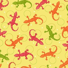Olivia Lizards Salamanders Orange Pink Green Light Green Cotton Fabric