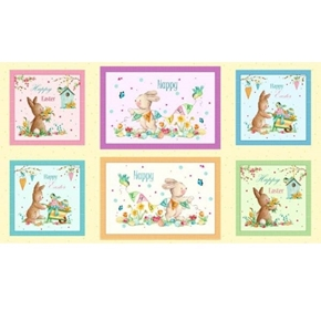 Easter Parade Happy Easter Bunny Patches 24x44 Cotton Fabric Panel