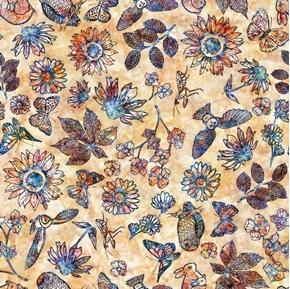 Floraluna Etched Floral Butterflies Owls Rabbits Cream Cotton Fabric