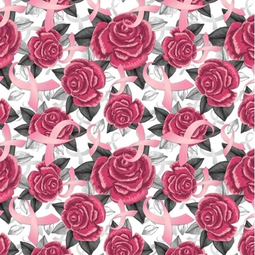 Pink Ribbon and Roses Breast Cancer Ribbons on White Cotton Fabric