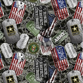 US Army Military Dogtags Armed Service Dog Tag Cotton Fabric
