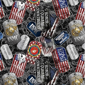 US Marines Military Dogtags Armed Service Dog Tag USMC Cotton Fabric