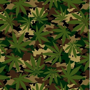 Cannabis Camo Marijuana Leaves Army Camouflage Cotton Fabric