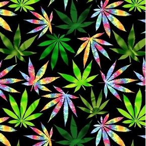 Psychedelic Cannabis Green and Tie-dye Marijuana Leaves Cotton Fabric