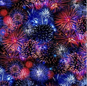 Patriotic Fireworks Red White and Blue Firework Cotton Fabric