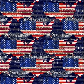 Patriotic USA Star Spangled Banner Music and Lyrics Cotton Fabric