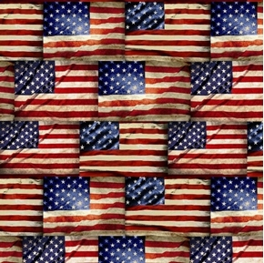Patriotic USA Packed Flags American Flag Waving Cotton Fabric