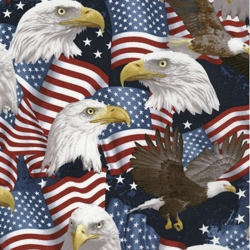 Eagles and Flags Patriotic Bald Eagle and Flag Cotton Fabric