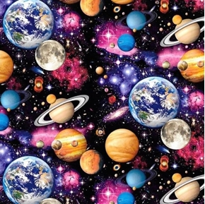Pride and Courage Celestial Sky Planets Galaxy Space Cotton Fabric