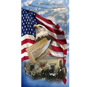 We The People Declaration of Independence 24x44 Cotton Fabric Panel