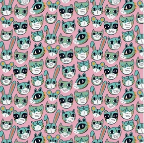 Have Fun Stay Safe Woodland Creatures Wearing Masks Pink Cotton Fabric