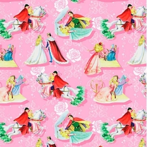Happily Ever After Sleeping Beauty Vintage Storybook Cotton Fabric