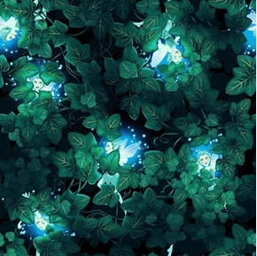 Summer Night Soiree Fairies and Leaves Glow in the Dark Cotton Fabric