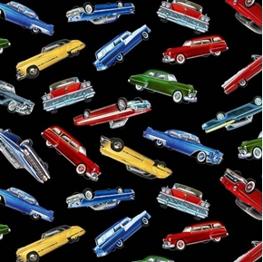 Classic Cars Vintage Automobiles Collectible Car Black Cotton Fabric