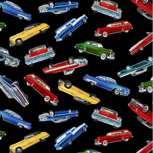 Classic Cars Vintage Automobiles Collectible Car Black Cotton Fabric