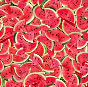 Watermelon Slices with Seeds Summer Melon Fruit Cotton Fabric