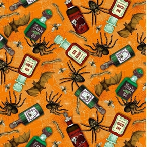 Halloween Bad Blood Poison Bottles Spiders Bats Orange Cotton Fabric