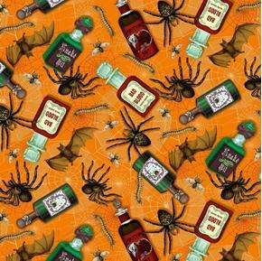 Halloween Bad Blood Poison Bottles Spiders Bats Orange Cotton Fabric
