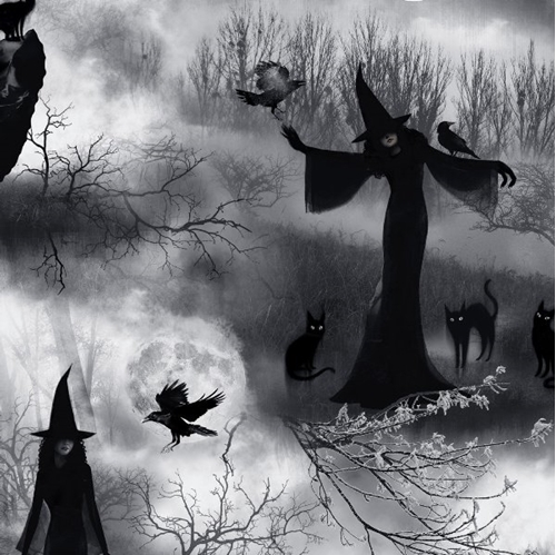 Halloween Wicked Spooky Witch Black Cats and Crows Cotton Fabric