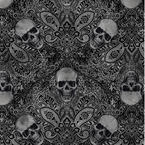 Halloween Wicked Skulls on Damask Spooky Skull Cotton Fabric