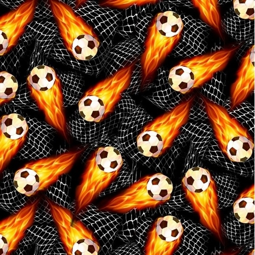 Soccer Balls Flaming Soccer Ball and Nets Sports Cotton Fabric