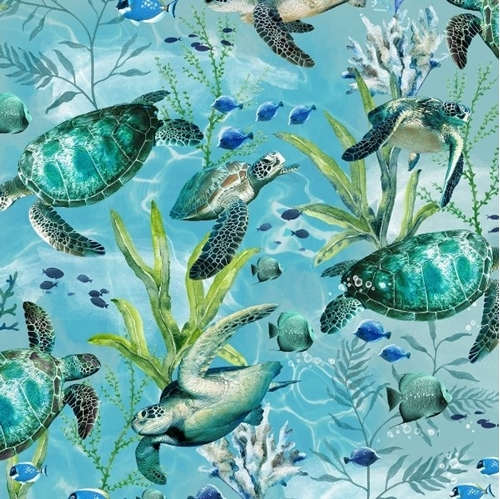 Sea Turtles Swimming in the Ocean Turtle and Fish Blue Cotton Fabric