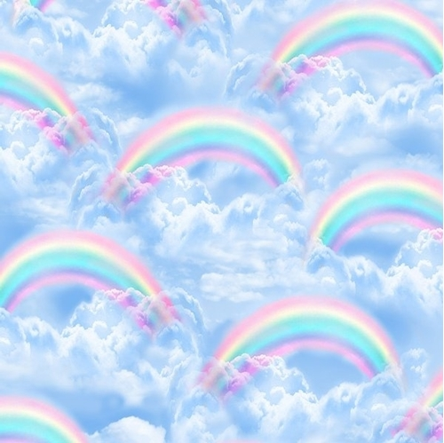 Rainbows in the Clouds Blue Sky Rainbow and Cloud Cotton Fabric