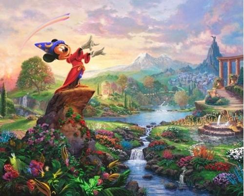 Disney Magic Fantasia Mickey Mouse Classic Movie Cotton Fabric Panel