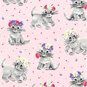 Paw Prints for ASPCA Furry Princess Kitten Flowers Pink Cotton Fabric