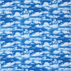 Landscape Medley Blue Sky with Smaller White Clouds Cotton Fabric