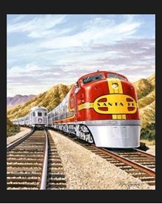 Santa Fe Chief Locomotive Western Railroad Train Cotton Fabric Panel