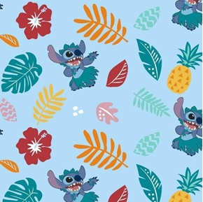 Disney Stitch Hula Pineapples Leaves Flowers Blue Cotton Fabric