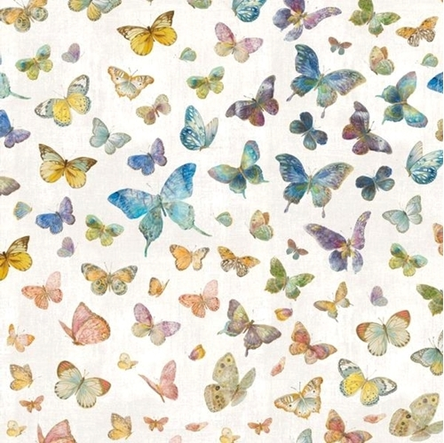 Butterfly Haven Pastel Butterflies on White Cotton Fabric