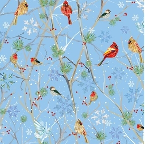 First Frost Birds Winter Cardinals on Snowy Branches Blue Cotton Fabric