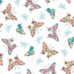 Daisy Meadow Tossed Butterflies Butterfly White Cotton Fabric